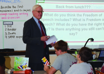 Brad Hill discusses Freedom of Speech with students.