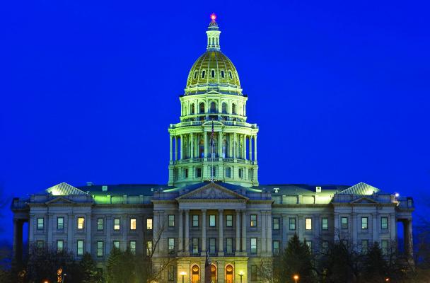 Denver State Capitol Building at Dusk Colorado.  proPhoto RGB.