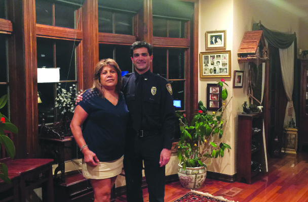 Cyrus Rajabi with his mom--his inspiration for becoming a firefighter
