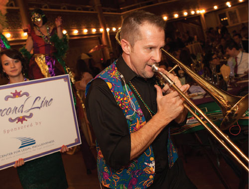 An authentic Mardi Gras experience, complete with a brass ensemble.