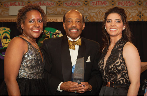 Karen Hester, executive director of CLI; Judge Wiley J. Daniel; and Meshach Rhoades, partner at Armstrong Teasdale LLP.