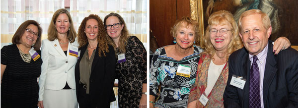 Left: Honorees Lucy Hojo Denson, Tamara Goodlette, Mari Newman and Christina Gomez. Right: Helen Shreves and Bob Truhlar.