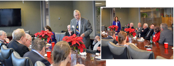 "Left: Leonard Plank facetiously prefacing his ""two-hour"" speech. Right: Nancy Cohen speaking at the luncheon."