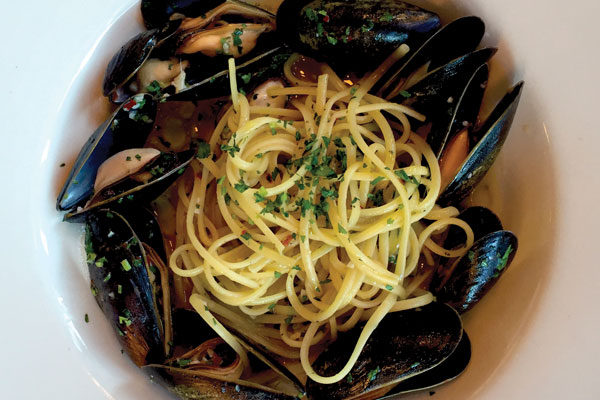 Linguini with mussels. Photo credit: Sarah Abell.