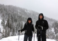 Jessica Cordero and Josh Dean on their snowshoeing expedition.