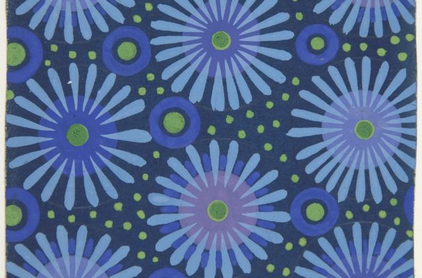 Fabric design with flowers, circles and dots. Attributed to Paul Poiret (French, Paris 1879–1944 Paris); ca. 1918–25. Metropolitan Museum of Art (1984.1176.1).
