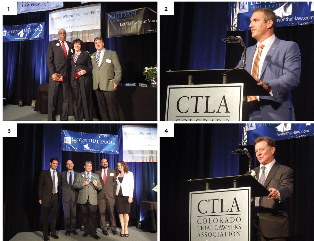 1. CTLA President Michael Rosenberg (far right) thanks W. Harold (Sonny) Flowers, Jr. and Carrie Frank by presenting them with the Outstanding Service to CTLA Award. 2. New Trial Lawyer of the Year Award recipient Jason Jordan recognizes his family and colleagues for their support. 3. CTLA President Michael Rosenberg (center) stands with Case of the Year Award winners Arash Jahanian, Siddhartha Rathod, Qusair Mohamedbhai and Andrea Mohamedbhai. 4. Kenneth Norman Kripke Lifetime Achievement Award honoree Saul Sarney discusses what it means to be a trial attorney.