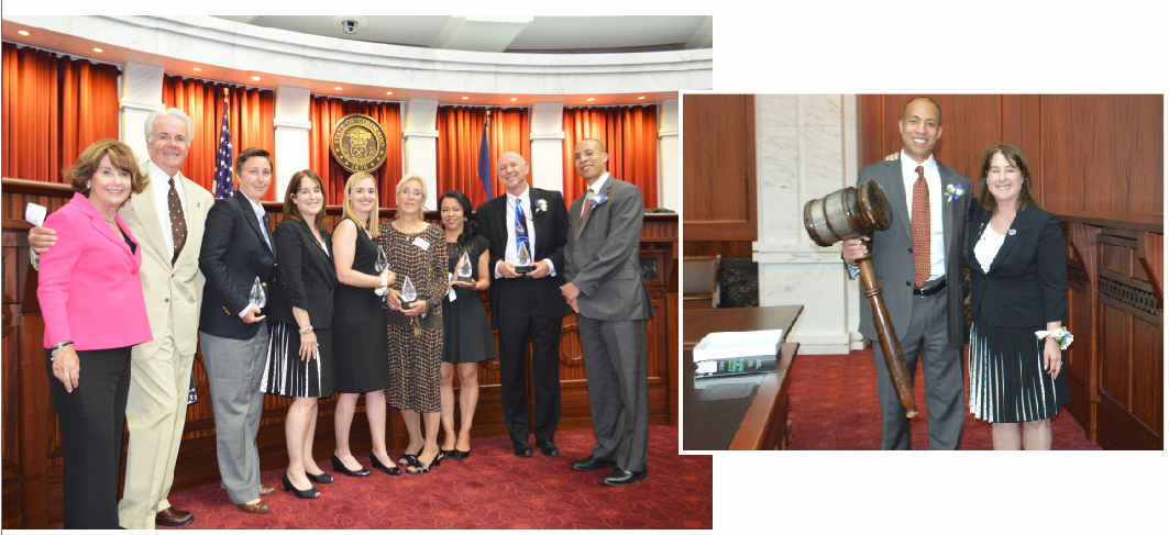 Left: Sheila Gutterman, John Baker, J. Ryann Peyton, Nancy Cohen, Robin Hoogerhyde, Jennifer Holt, Judge Terry Fox, Leo Milan and Franz Hardy. Right: A successful passing of the gavel from Nancy Cohen to Franz Hardy.