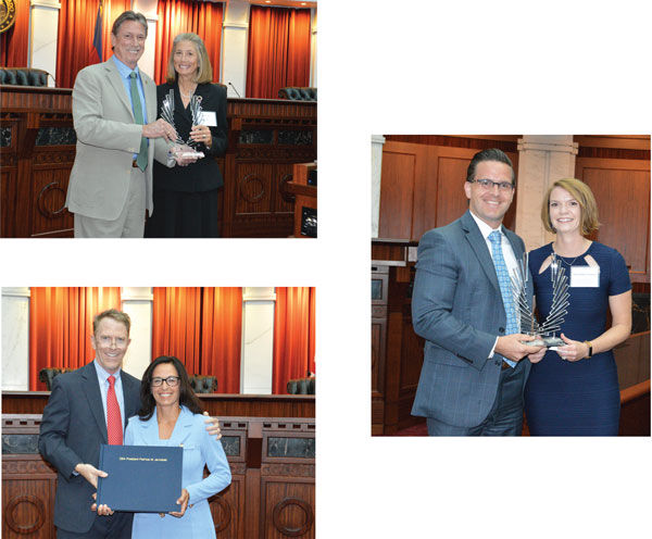 Top left: CBA Awards Committee Chair Charles Garcia with Marcy Glenn. Bottom left: CBA President Dick Gast with Past President Patricia Jarzobski. Right: CBA YLD Chair Casey Kannenberg with Kelley Rider Goodwin.