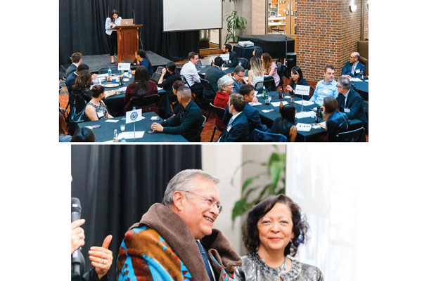 Top: Guests look on while Constangy associate and Building Futures organizer LaLonnie Gray invites attendees to join the buffet line. Bottom: Judge Christine M. Arguello smiles for the camera while former Law School … Yes We Can President Lorenzo Trujillo is presented with a Native American ceremonial blanket by incoming President Jennifer Weddle.
