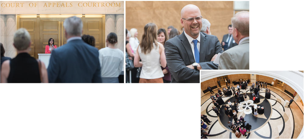 Top Left: Clarissa Collier. Top Right: Justice Hood. Lower Right: Attendees at the Colorado Supreme Court Pro Bono Recognition Ceremony and Reception.
