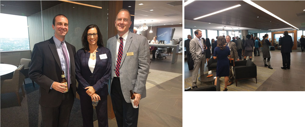 Left: Jeremy Schupbach, Patricia Jarzobski and Patrick Flaherty. Right: Networking in action.