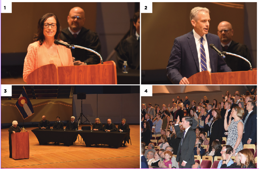 1. CBA President Patricia Jarzobski speaks of the importance of community. 2. John Walsh delivering the keynote address. 3. A special session of the Colorado Supreme Court. 4. All lawyers stand as Chief Justice Nancy Rice administers the Oath of Admission.